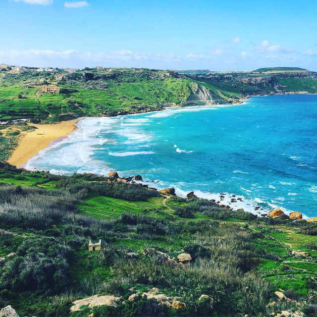 """""""View from Tal Mixta Cave, Malta"""" stock image"""