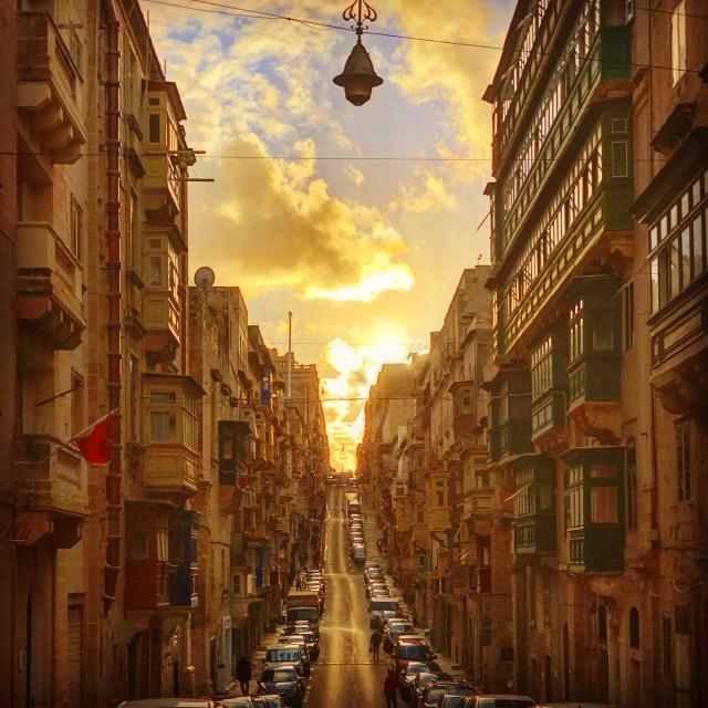 """""""Valletta Street at Sunset"""" stock image"""