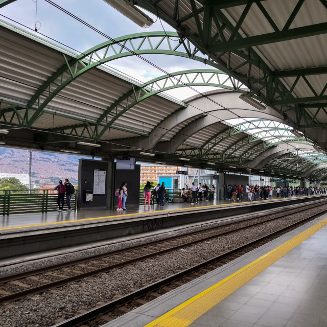 """""""Platform of the Hospital Station of the elevated metro of Medellin, Colombia"""" stock image"""