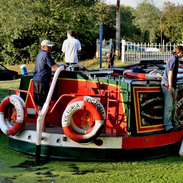 """""""Canal Boat Victoria"""" stock image"""