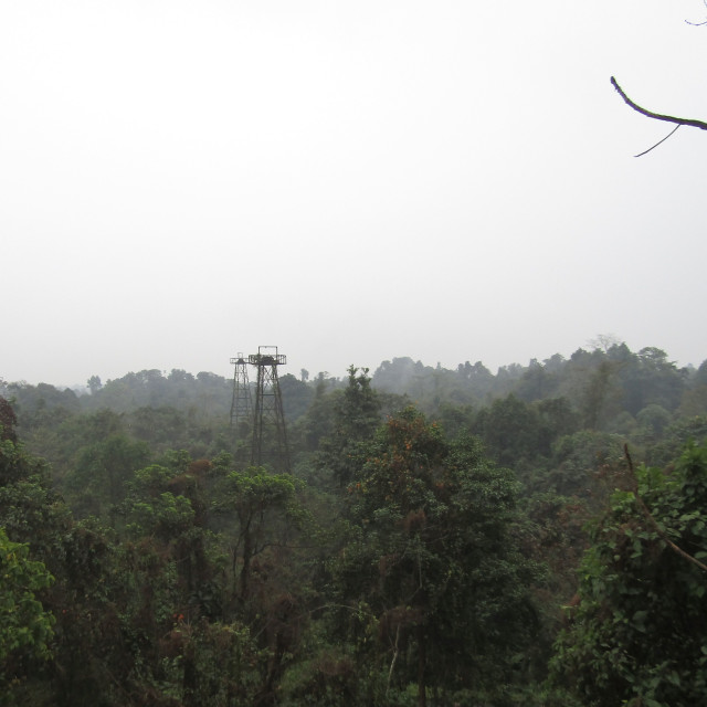 """Derricks in Indian jungle"" stock image"