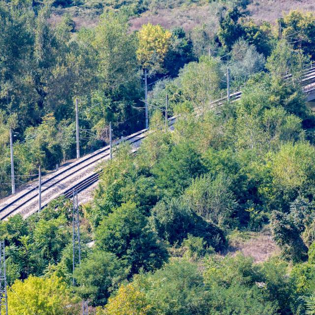 """""""Diagonal double railway tracks high angle view"""" stock image"""