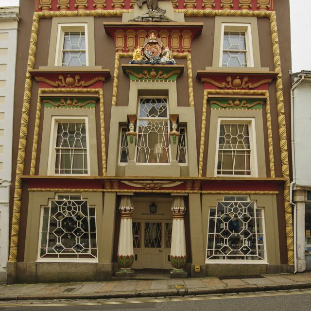 """The Egyptian House, Penzance"" stock image"