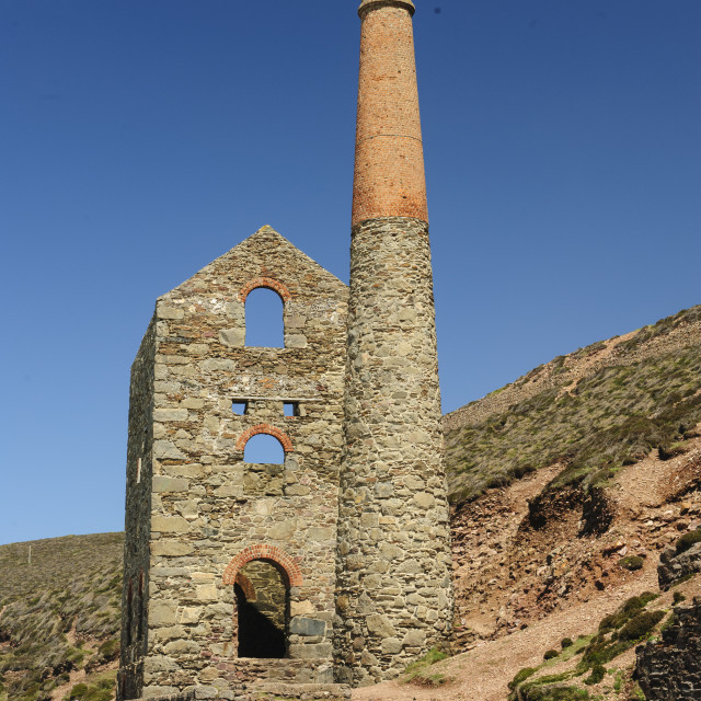 """Towanroath Engine House, Wheal Coates, Cornwall"" stock image"