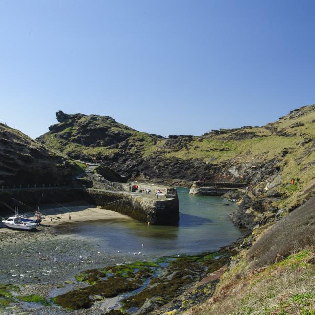 """Boscastle Harbour, Cornwall"" stock image"