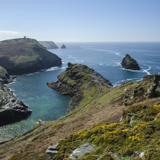 """""""The entrance to Boscastle Harbour"""" stock image"""