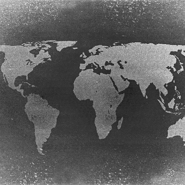 """Retro halftone world map"" stock image"
