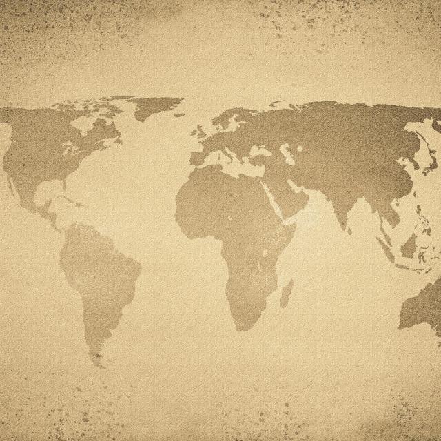 """Vintage sepia world map"" stock image"