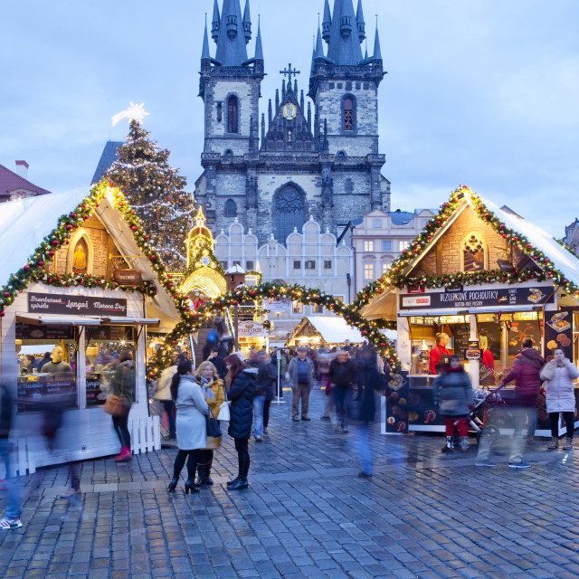 """Prague - The Old Town Square Christmas Market and Tyn Church"" stock image"