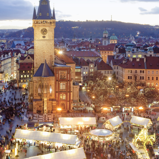 """Prague - Christmas Market and Town Hall Tower at The Old Town Sq"" stock image"