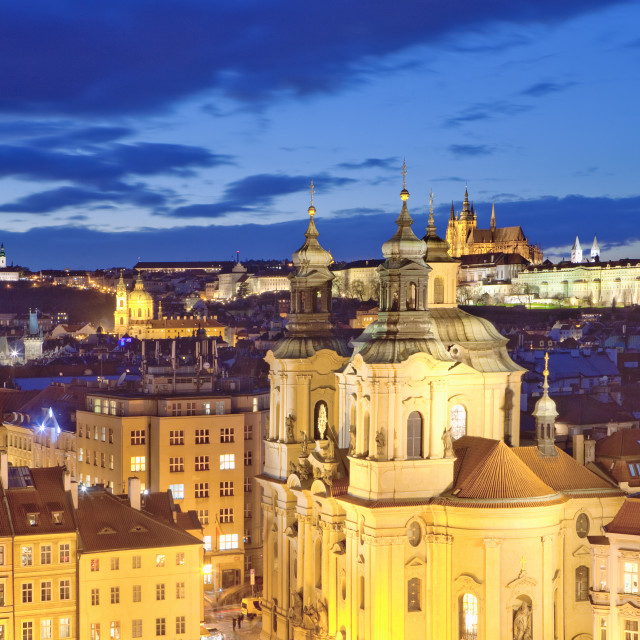 """Czech Republic, Prague - St. Nicolas Church and Hradcany Castle at Dusk."" stock image"