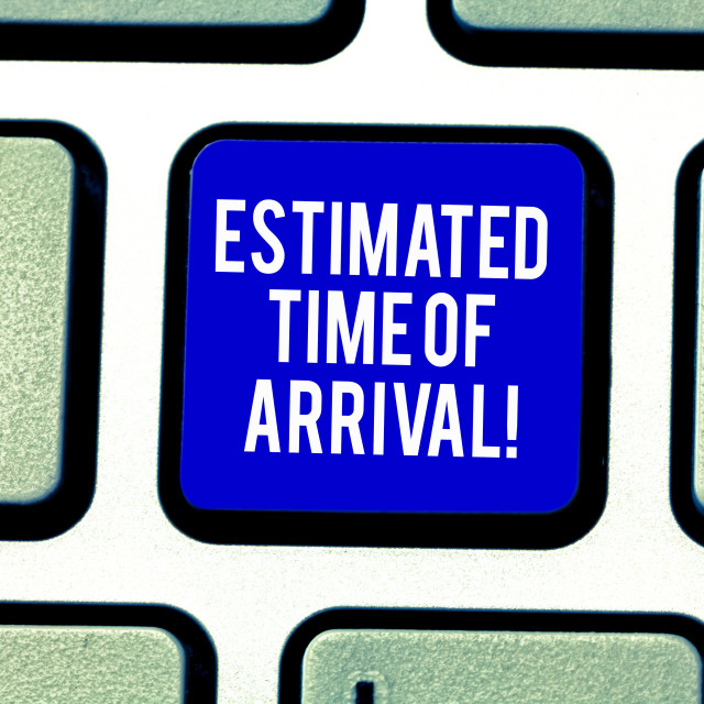 """""""Handwriting text Estimated Time Of Arrival. Concept meaning Hours at which a..."""" stock image"""
