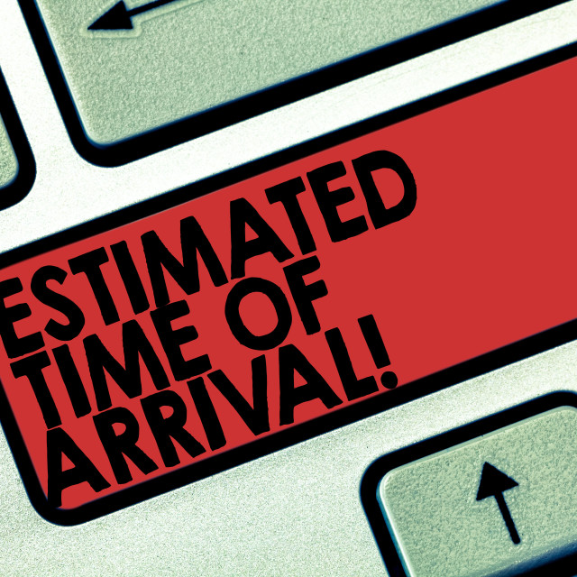 """""""Word writing text Estimated Time Of Arrival. Business concept for Hours at..."""" stock image"""