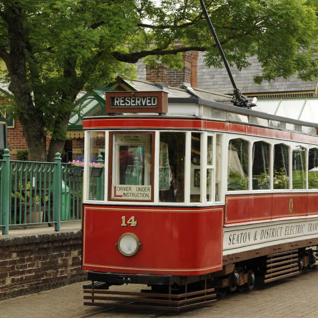 """Car 14 on Seaton Tramway"" stock image"