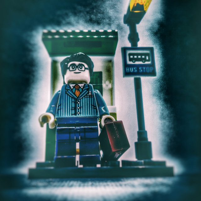 """""""Waiting for the next bus"""" stock image"""