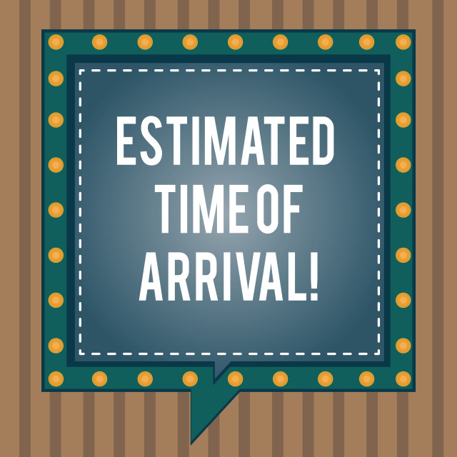 """""""Conceptual hand writing showing Estimated Time Of Arrival. Business photo..."""" stock image"""