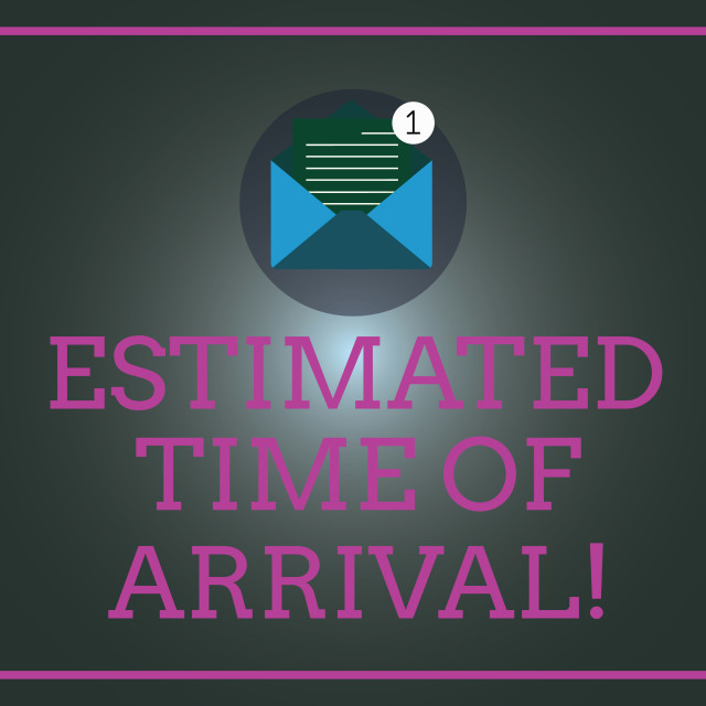"""""""Writing note showing Estimated Time Of Arrival. Business photo showcasing..."""" stock image"""