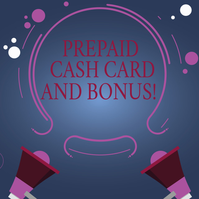 """Word writing text Prepaid Cash Card And Bonus. Business concept for Money..."" stock image"