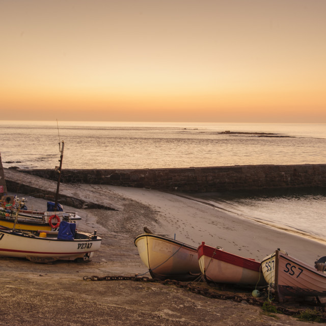 """Fishing boats at Sennen Cove, Cornwall"" stock image"