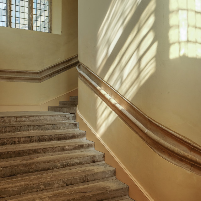 """Sunlight and shadows on the stairs"" stock image"