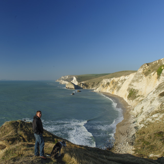 """Looking west from Dungy Head near Lulworth Cove, Dorset"" stock image"