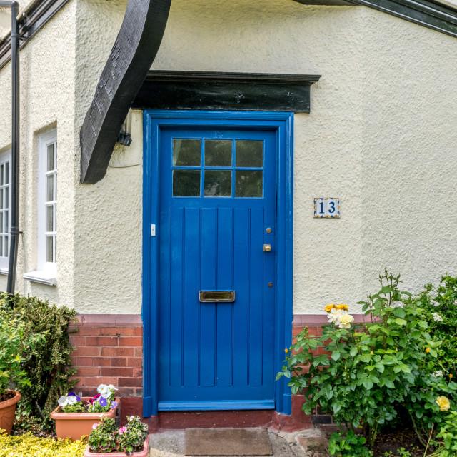 """""""Blue Door - Port Sunlight"""" stock image"""