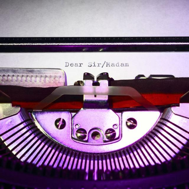"""""""Vintage typewriter with the words dear sir/madam printed on a letter"""" stock image"""
