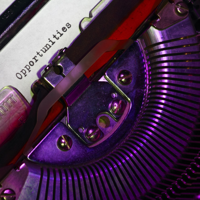 """""""Vintage typewriter with the word opportunities printed on a letter"""" stock image"""