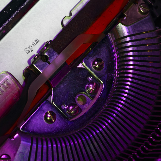 """""""Vintage typewriter with the word spam printed on a letter"""" stock image"""