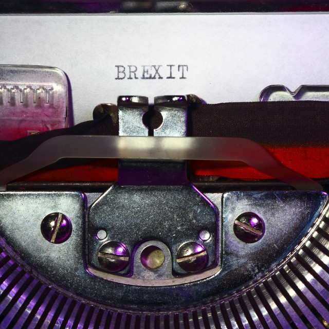 """""""Vintage typewriter with the word brexit printed on a letter"""" stock image"""