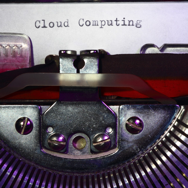 """""""Vintage typewriter with the phrase cloud computing printed on a letter"""" stock image"""