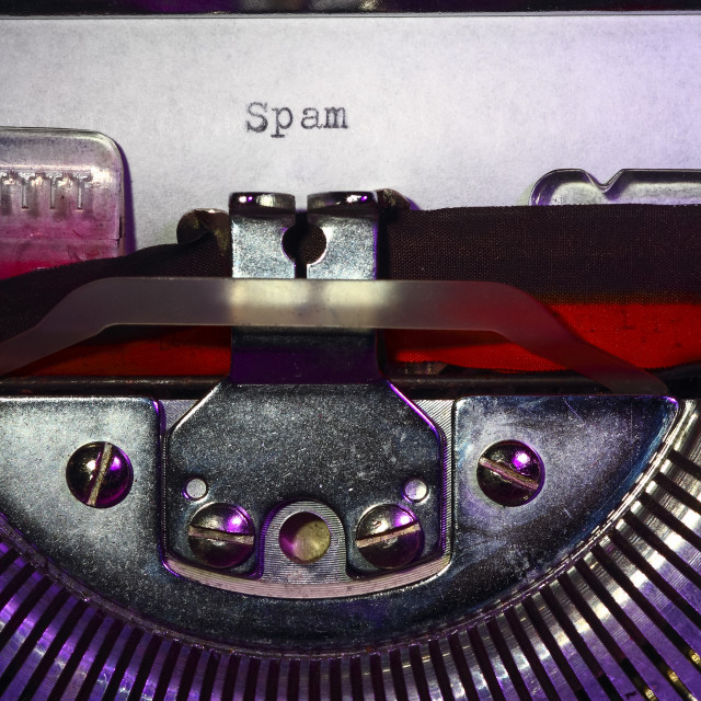 """Vintage typewriter with the word spam printed on a letter"" stock image"