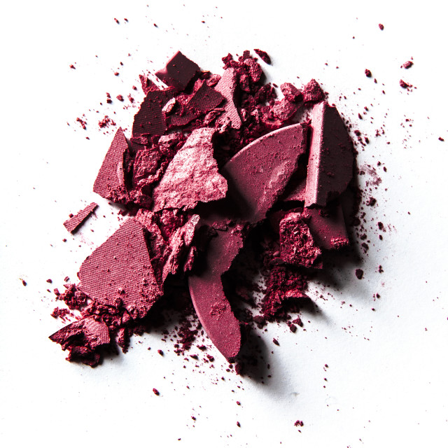 """""""crushed make-up products - beauty and cosmetics styled concept"""" stock image"""