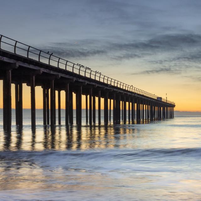 """Dawn Light, Felixstowe Pier, Suffolk"" stock image"