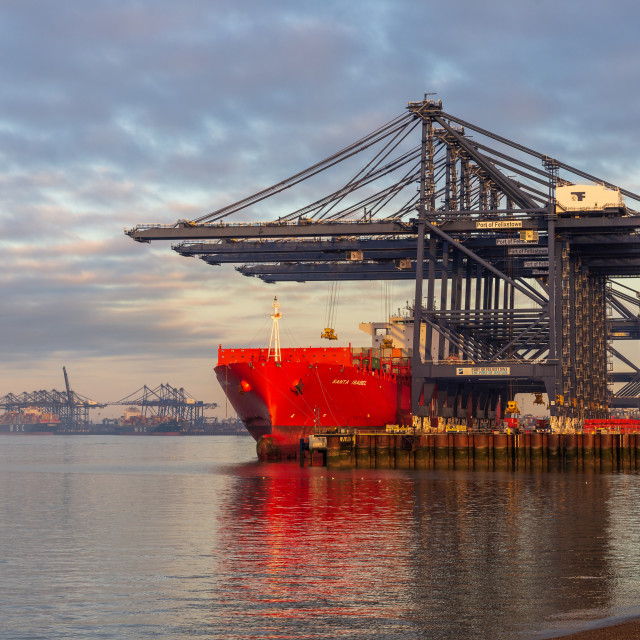 """Red Container Ship, Felixstowe"" stock image"