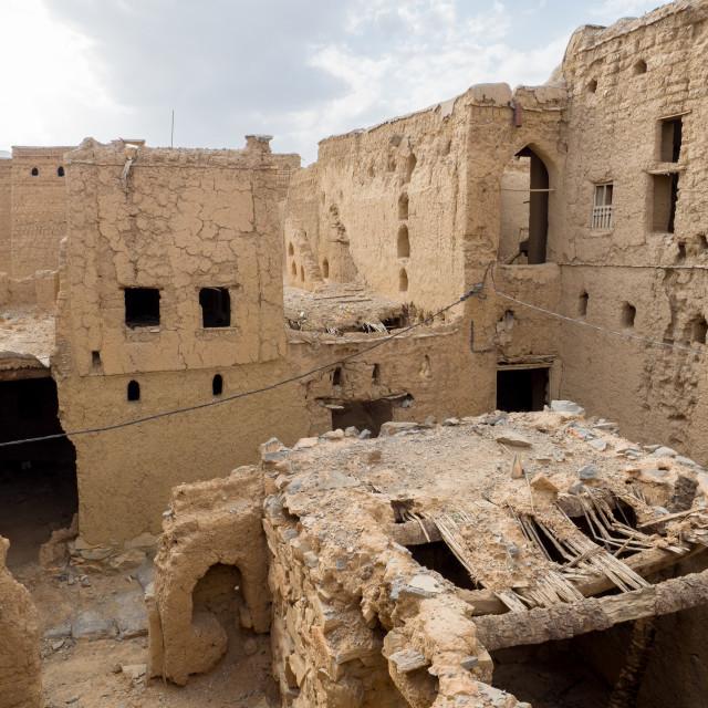 """Ancient mud brick houses ruins in Al Hamra, Oman"" stock image"