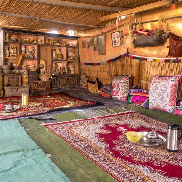 """Bedouin tent interior"" stock image"