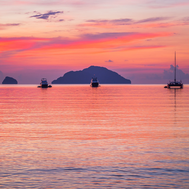 """""""Yachts in a bay at sunset"""" stock image"""