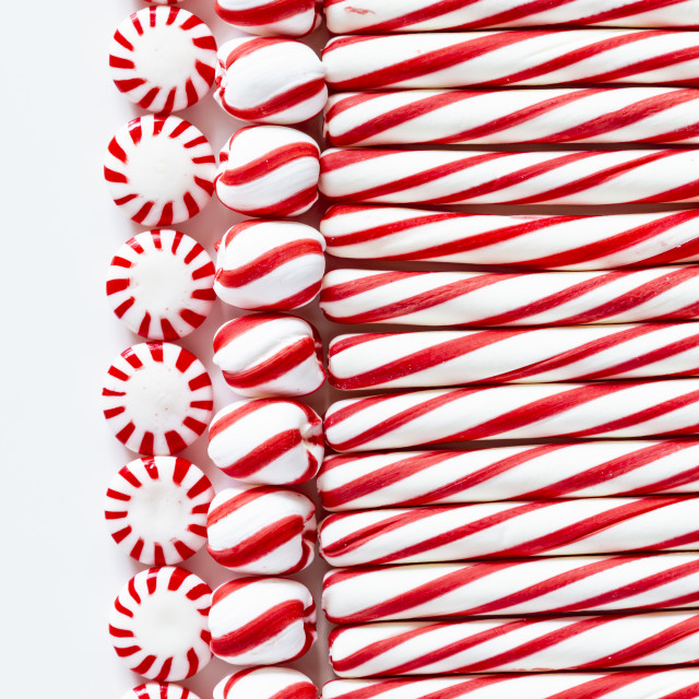 """""""Red and White Striped Peppermint Candies"""" stock image"""