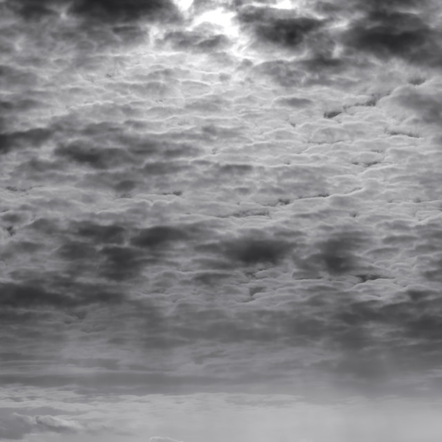 """Dramatic Skies above Ship at Burbo Bank, Monochrome"" stock image"