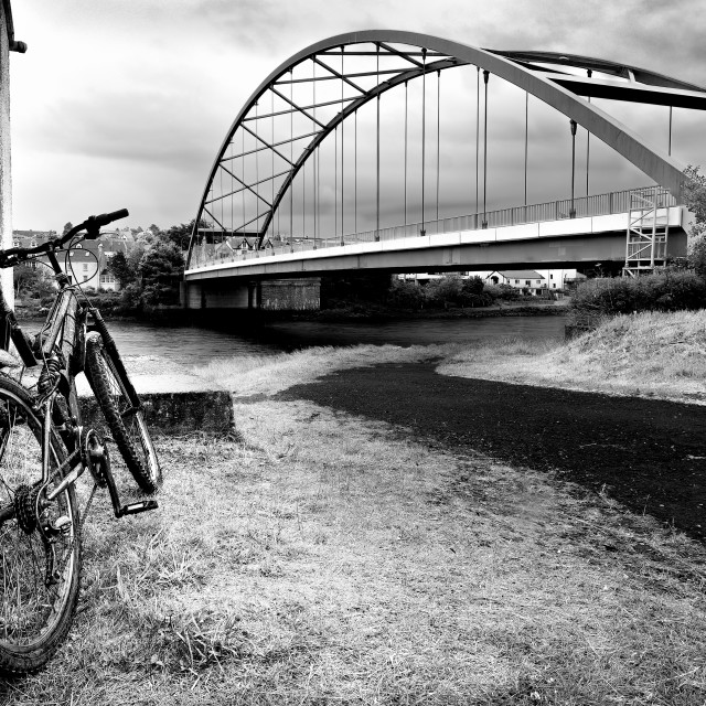 """Lone Pedal Bike at Bonar Bridge."" stock image"
