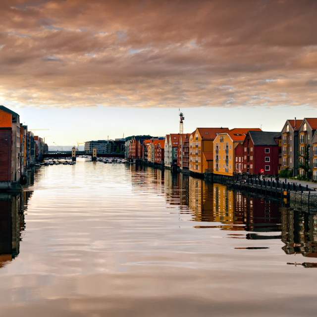 """River Nid or Nidelva running through Trondheim, Norway"" stock image"