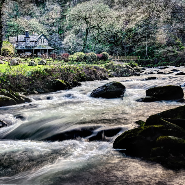 """Where Waters Meet at Watersmeet, Exmoor, North Devon"" stock image"