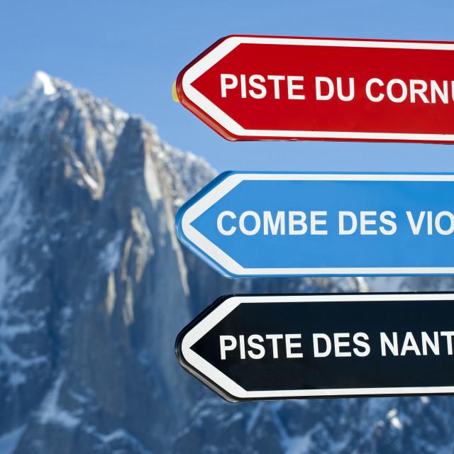 """Directional signs to r ski slopes, Chamonix, France"" stock image"