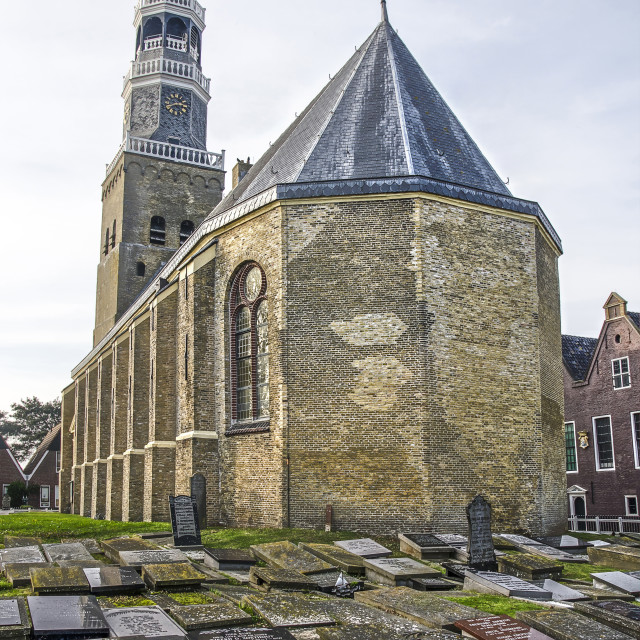 """""""Churchyard and church in Hindeloopen"""" stock image"""