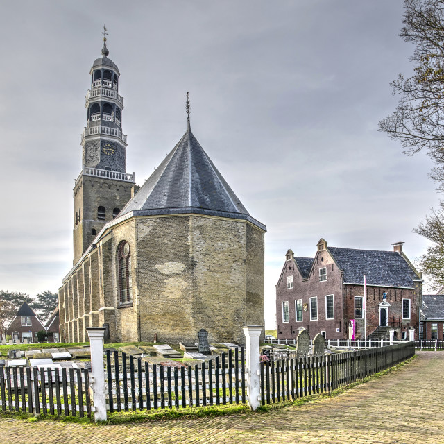 """""""Church and churchyard in a Frisian town"""" stock image"""