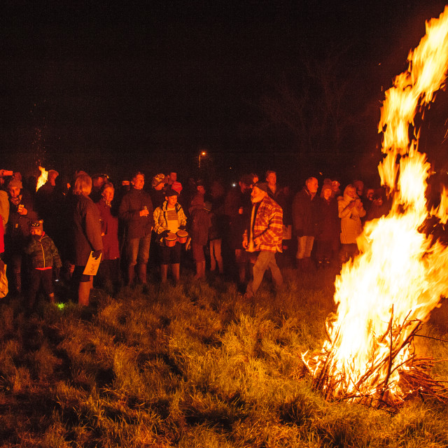 """Gahtering Around the Bonfire, Whimple Wassail, Devon"" stock image"