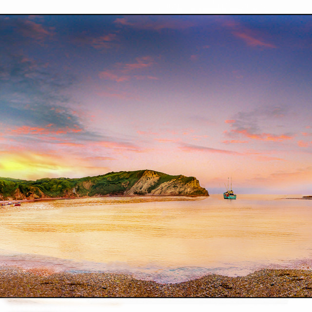 """Sunset At Lulworth Cove"" stock image"