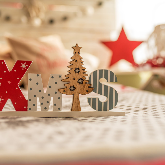 """""""Wooden XMAS word and decorative Christmas tree."""" stock image"""