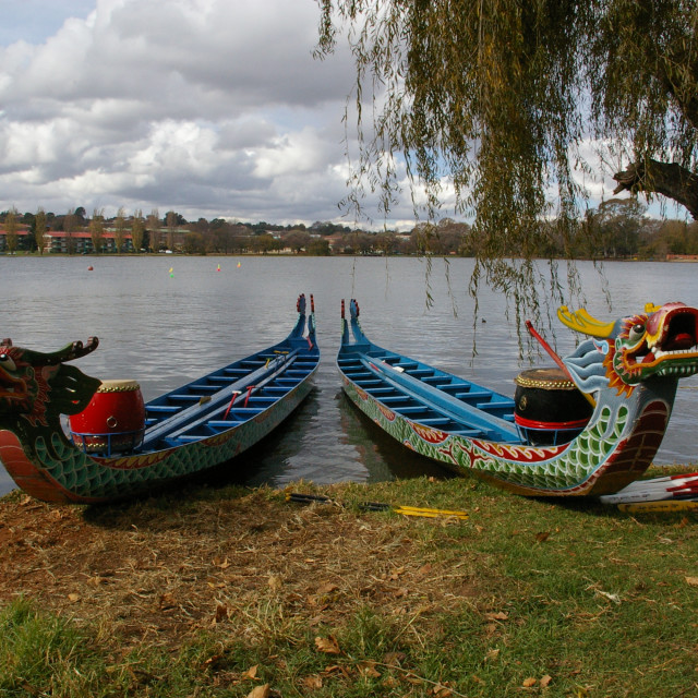 """Traditional Dragon Boats"" stock image"